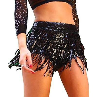 Yollmart Women's Sequins Tassel Skirts Shorts Booty Dance Festival Bottoms at Women's Clothing store