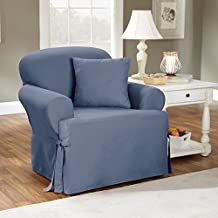 Sure Fit Cotton Duck T-Cushion Chair Slipcover, Bluestone