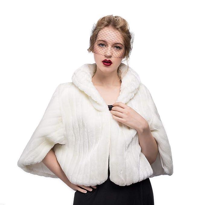 BEAUTELICATE Fake Fur Cape Brautjacke
