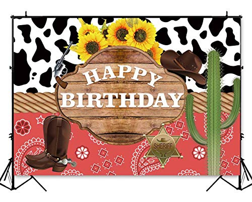 Funnytree 7x5ft Western Theme Birthday Backdrop Wild West Rodeo Cowboy Cowgirl Photography Background Cactus Sunflower Rustic Wood Kids Party Invitation Decoration Cake Table Banner Photobooth ()