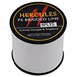HERCULES 500m 547yds White 10lbs-300lbs Pe Braid Fishing Line 8 Strands (40lb/18.1kg 0.32mm)