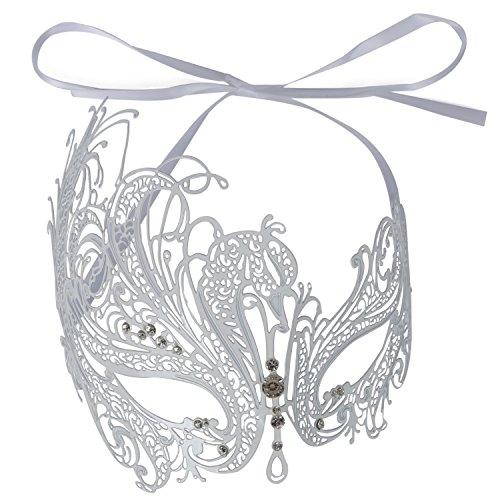 Asvert Venetian Masquerade Mask Women's Swan Metal Filigree Laser Cut (white)