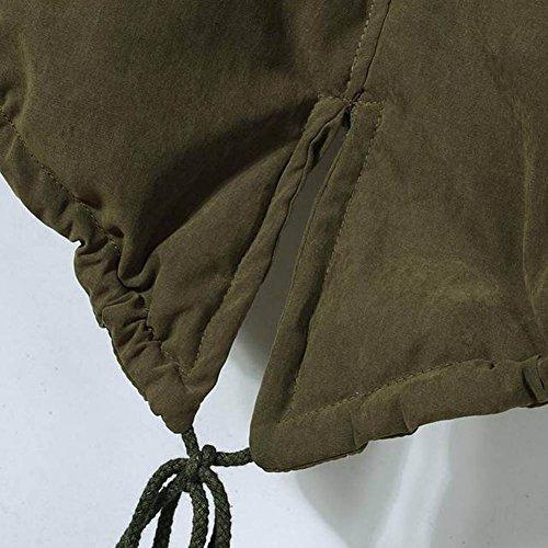 Capucha Ejército Con Largos Acolchado Chaquetas Parkas Militar Abrigos Del Verde Gabardina Mujer qY6UPU