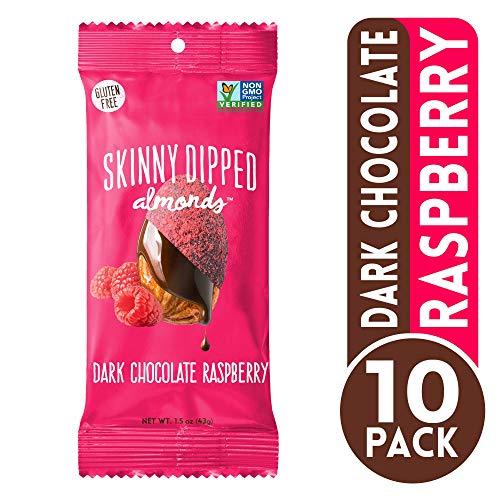 (Skinny Dipped Almonds Dark Chocolate Raspberry Covered Almonds, Gluten Free, Low Sugar Snacks, 1.5 oz bag, Pack of 10)