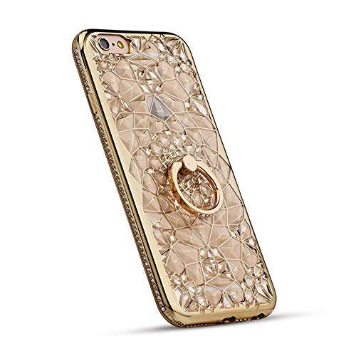 Phone Case Compatible with iPhone 6 Plus & iPhone 6s Plus, GIZEE Luxury Sparkle Bling Crystal Clear 3D Diamond Ring Stand Soft TPU Protective Case for iPhone 6 6s Plus 5.5 Inch (Gold)
