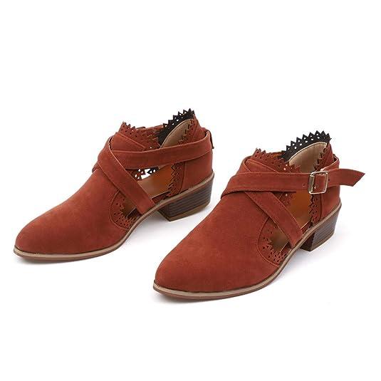 Botines Tacón cuña Ancho para Mujer Otoño Primavera 2018 Moda PAOLIAN Botines Chelsea Zapatos de Punta Señora Botas Militares Fiesta clásicas Calzado de ...