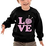 Puppylol Knitting Lover Kids Classic Crew-Neck Pullover Hoodie Black