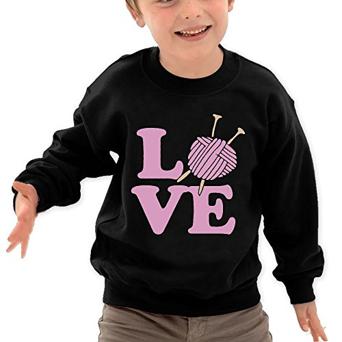 Puppylol Knitting Lover Kids Classic Crew-Neck Pullover Hoodie Black 4 Toddler