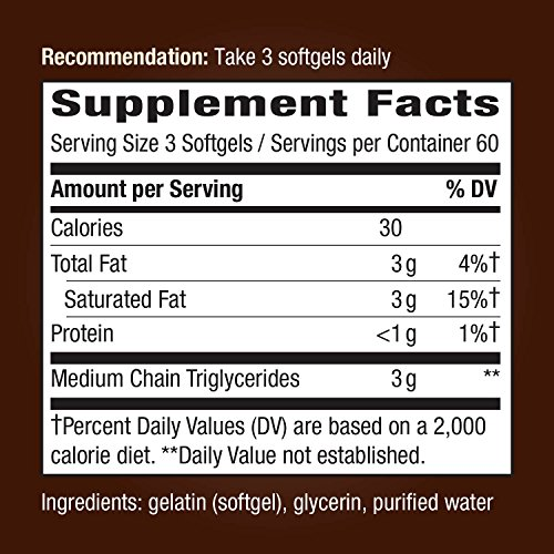 Nature's Way Softgels - 100% 1000mg of MCTs or Oils, Flavorless, - softgels