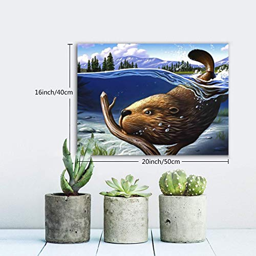 Achujuyou Wall Art Decor Poster Painting, Busy Beaver On Oil Painting Canvas Print Pictures for Home Decoration Living Room Artwork,Ready to Hang,22.8 X 18.8 Inch -