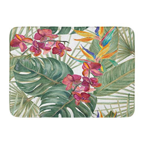 Emvency Bath Mat Monstera Watercolor Tropical Pattern with Exotic Flowers Bird of Paradise Orhid Palm and Deliciosa Leaves Bathroom Decor Rug 16