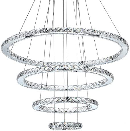 """MEEROSEE Crystal Chandeliers Modern LED Ceiling Lights Fixtures Pendant Lighting Dining Room Chandelier Contemporary Adjustable Stainless Steel Cable 4 Rings DIY Design D31.5"""" 23.6"""" 15.7"""" 7.8"""""""