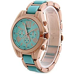 TOPCHANCES Women WristWatch Bracelet Design Quartz Watch with Rhinestone Dial Stainless Steel Band (Leopard Blue)