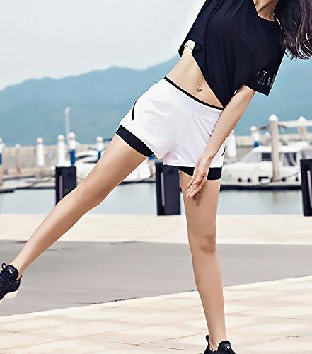 Women Yoga Pantaloncini Jogging Asciugatura Sportivi Giovane Moda Casuali Bianca Grazioso Estivi Solido Elegante Palestra Woman Elasticità Donna Shorts Rapida Pantaloni XUaZx00