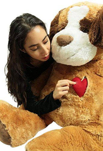 Chest Zippered Pocket (Big Plush Giant Stuffed Dog Saint Bernard, Heart in Zippered Chest Pocket to Express Love, 48 Inch Soft 4 Feet Tall)