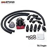 EPMAN Universal Adjustable Fuel Pressure Regulator Kits 160PSI Gauge AN6 Braided Oil Hose (Black With Red)