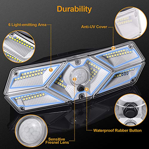 Ellecutteyi Solar Lights Outdoor Solar Security Lights 104 LED 3 Modes Motion Sensor Lights with Lights Reflector Wireless Waterproof Outdoor Solar Wall Lights Wide Angle Solar Powered Lights 2 Pack