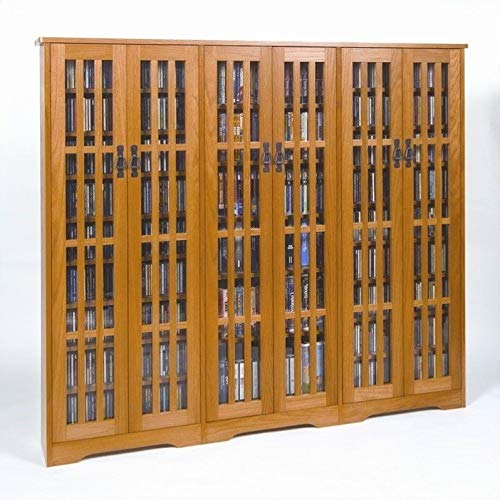 Leslie Dame M-1431 High-Capacity Inlaid Glass Mission Style Multimedia Storage Cabinet, Oak