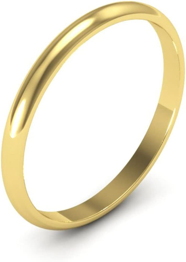 14K yellow Gold mens and womens plain wedding bands 2mm non comfort-fit light