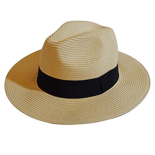 MAISON DE COCO UNISEX Adjustable sized Panama Straw Hat - Summer Wide Straw Fedora Hat-NTBK