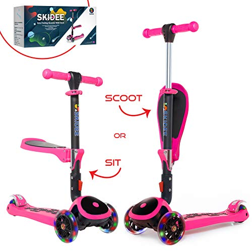 Scooter for Kids with Folding Seat – New 2-in-1 Adjustable 3 Wheel Kick Scooter for Toddlers Girls & Boys – Fun Outdoor Toys for Kids Fitness, Outside Games, Kid Activities – Boy & Girl Toys –