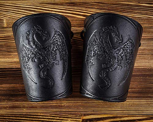 Leather Cuff Bracers - LARP Gauntlet - Dragon Leather Wristbands - LARP Accessories Viking Bracers - Ren faire costumes- Length 5