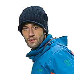 Home Prefer mens winter hat outdoor warm visor beanie cap is made of 70% acrylic and 30% wool,100% polyester lining keeps your head warm and comfortable. Thick compact design keeps you looking cool in the cold weather. Great cold weather hat ...