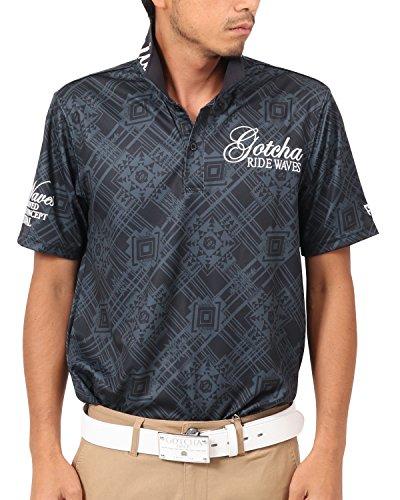 [ガッチャ ゴルフ] GOTCHA GOLF ポロシャツ 吸水速乾 ネイティヴ 総柄 ポロ 182GG1224 ブラック Sサイズ