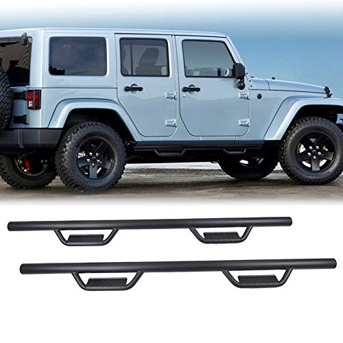 Ai CAR FUN 1 Pair Black Side Steps Running Boards Fit for 2007-2018 Jeep  Wrangler JK 4 Doors