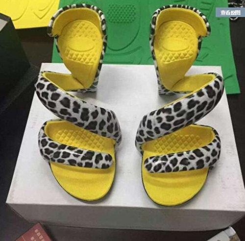 Xing Lin Leather Sandals Summer New Women'S Serpentine Wound Shoes Shaped Heels Open Toe Sandals Leopard / yellow inside y4imJAokum