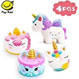Papi Bo Squishies 4 Pcs Jumbo Slow Rising Squishies Kawaii Colored Unicorn, Unicorn Donut, White Unicorn Mousse Cake and Blue Narwhal Cake Creamy Scent for Kids Party Toys Stress Reliever Toy - 4 Pack