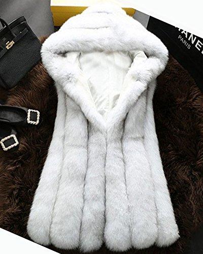 Cappuccio Pelliccia Parka Con Lungo Giacca Cardigan Faux Caldo Cappotto Weiß Donna qBC4wzx