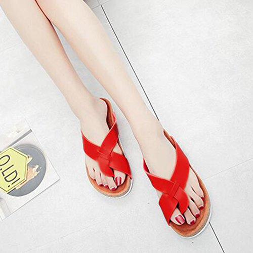 ZKOO Tongs Chaussons Femmes Ete Sangle Sandales Clip Toe Tongs Flats Chaussures Flip Flops Sandale de Plage Rouge 5h7aCuJ8bg