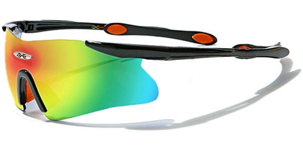 X-Loop Sonnenbrillen - Sport - Radfahren - Skifahren - Laufen - Driving - Motorradfahrer / Mod. 3555 Schwarz und Orange Spectrum Diesel Spiegel / One Size Adult / 100% UV400 Schutz
