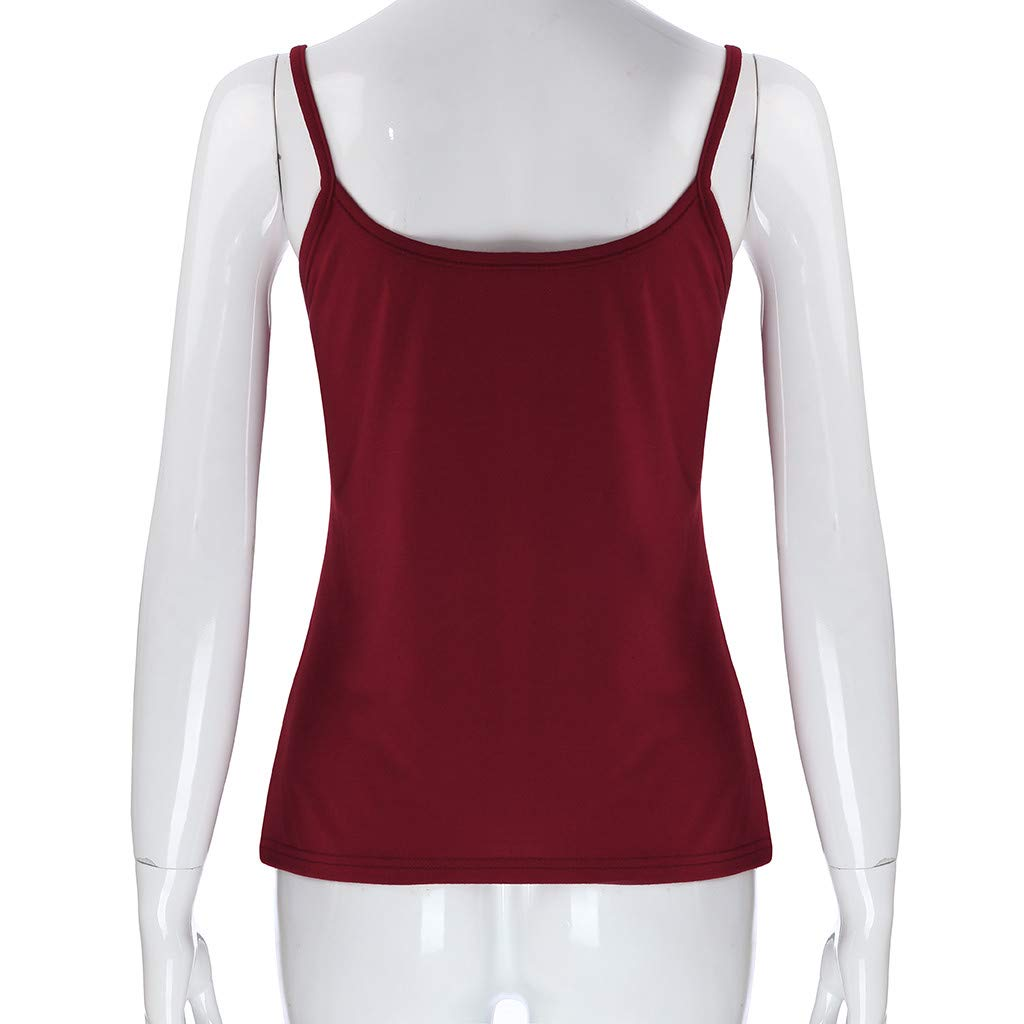 HHei_K Women Sexy Pure Color Leisure Keyhole Vest Summer Casual Cut Out Sleeveless Sling Shirt Blouse O-Neck Tank Top Wine by HHei_K (Image #3)