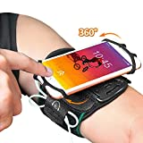 Armband, Pobon Super Breathable Sports Arm Band for iPhone Xs/X/8/8 Plus/7/7 Plus/6/6S Plus, Galaxy S9/ S9 Plus/S8/S7, 360°Rotatable Running Armband with Key Holder for Hiking Cycling Jogging (Black)