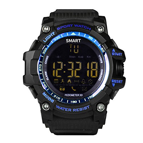 LU2000 Waterproof Smart Watch Bluetooth Take Photo Steps Calorie Count APP Message Notification Sport Watch Stopwatch Smart Wristband for Android iOS iPhone - Blue