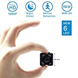 Mini Spy Hidden Camera, Moosoo 1080P/720P Full HD Matte Black 6 LED Infrared Night Vision Motion Detection Portable Recorder Home Surveillance Camera Nanny Cam Pet Baby Camera DV