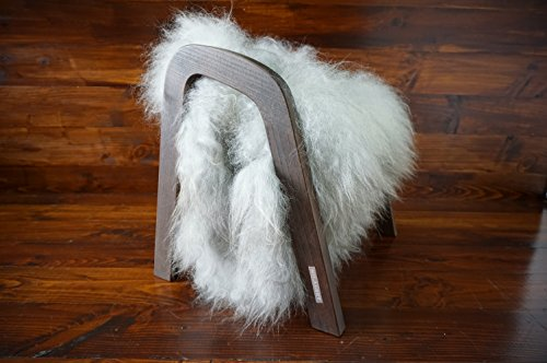 Oak wood Magazine Rack with genuine silver Norwegian Pelssau sheepskin rug - soft curly wool - Design Furniture by MILABERT (MR10) by MILABERT