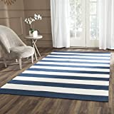 Safavieh Montauk Collection MTK712H Handmade Flatweave Navy and Ivory Cotton Area Rug (8' x 10')