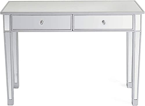 TiTa-Dong Mirrored Makeup Table,Makeup Dressing Table with 2 Drawers,Silver Reflective Glass Mirrored Media Console Table Vanity Desk for Women Girls Home Office