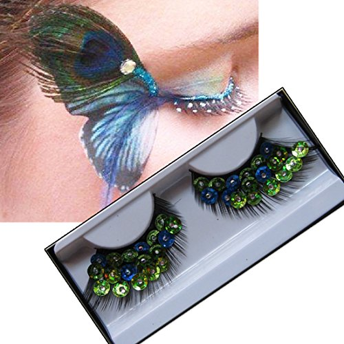 Lookathot 1 Pairs Feather False Eyelashes Eye Lashes- Natural Handmade Reusable Extensional Charming Sexy Funny Ladies Styles- Deluxe Party Stage Dance Costume]()