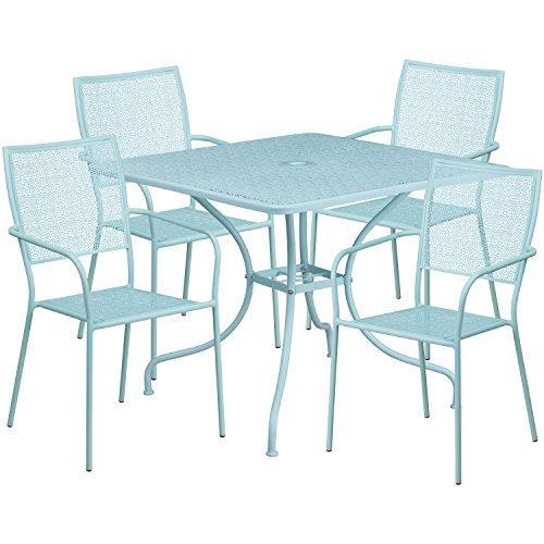 Flash Furniture 35.5'' Square Sky Blue Indoor-Outdoor Steel Patio Table Set with 4 Square Back Chairs