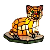NOSHY Stained Glass Accent Cat Lamp,Multi-colored,8.6-Inch Length,6.8-Inch Width,7.5-Inch Height,Pack of 1