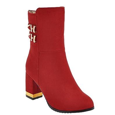MissSaSa Damen high heel Knöchelriemchen Cowboy Stiefel (34, Rot)
