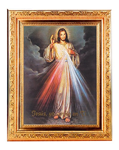 DIVINE MERCY SPANISH Fine Art Print Antique Gold Leaf Frame 8 x 10 Italian Lithograph Fine Detailed Scroll. Exclusive Paul Herbert Copyrighted Blessing Included. BASILICA (Spanish Scroll)