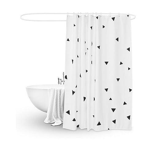 Geometric Shower Curtain Triangle Black And White Bathroom DecorCool