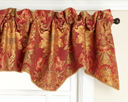 Stylemaster Como Lined Scalloped Valance with Cording, Cinnabar, 50 by 17-Inch