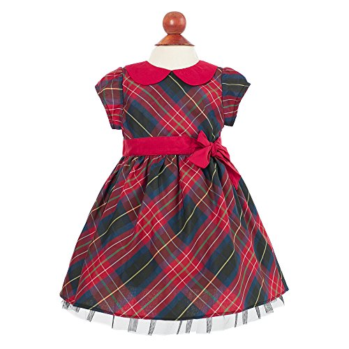 [Baby Girl's Plaid Holiday Dress with Bow, 3M] (Christmas Fancy Dress Baby)