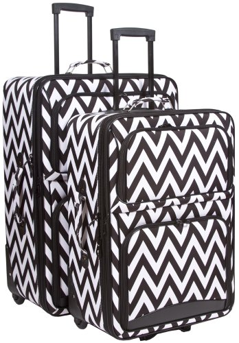 Ever Moda Chevron 2 Piece Luggage Set (Black) by Ever Moda